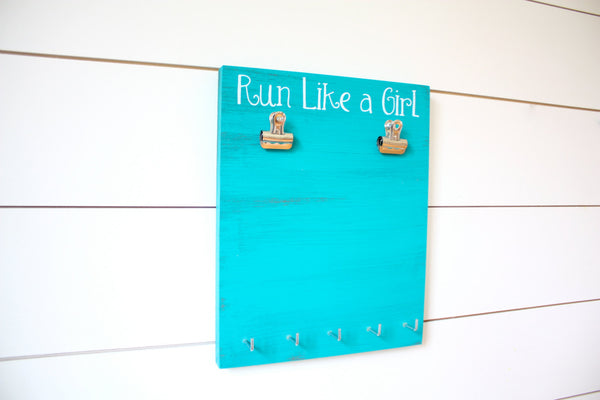 Running Race Bib & Medal Display - Run Like a Girl - York Sign Shop - 1