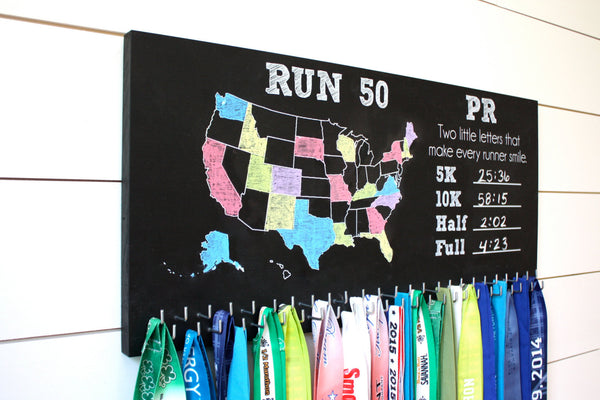 Run 50 States Medal Holder with PR list and 50 hooks  *** Chalkboard*** - York Sign Shop - 2