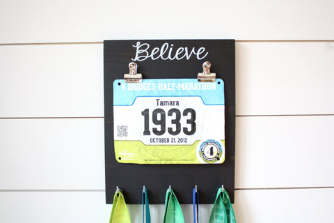 Race Bib and Medal Holder - Believe - York Sign Shop - 1