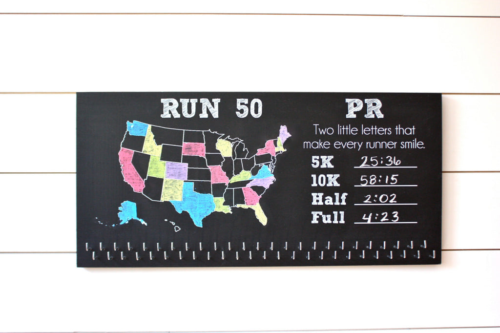 Run 50 States Medal Holder with PR list and 50 hooks  *** Chalkboard*** - York Sign Shop - 1