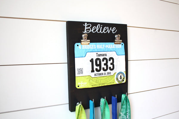 Race Bib and Medal Holder - Believe - York Sign Shop - 2