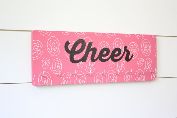 Cheer Medal & Bow Holder with Pattern- Cheerleading - Cheerleader - Medium - York Sign Shop - 2