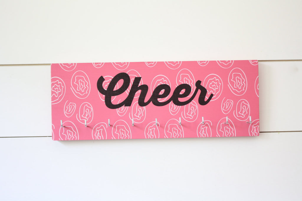 Cheer Medal & Bow Holder with Pattern- Cheerleading - Cheerleader - Medium - York Sign Shop - 1