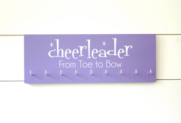 Cheerleader Medal & Bow Holder with Pattern- Cheerleading - Cheer - Medium - York Sign Shop - 2