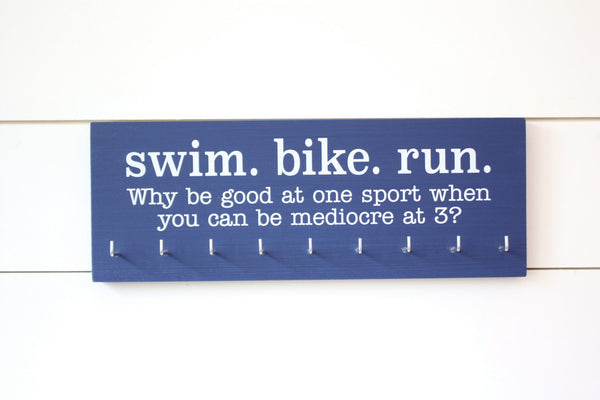 Triathlon Medal Holder / Display - Swim. Bike. Run. - Medium - York Sign Shop - 3