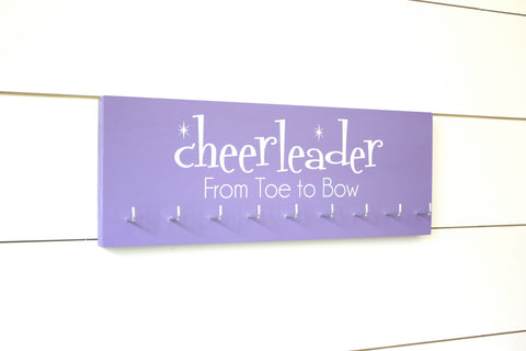 Cheerleader Medal & Bow Holder with Pattern- Cheerleading - Cheer - Medium - York Sign Shop - 1