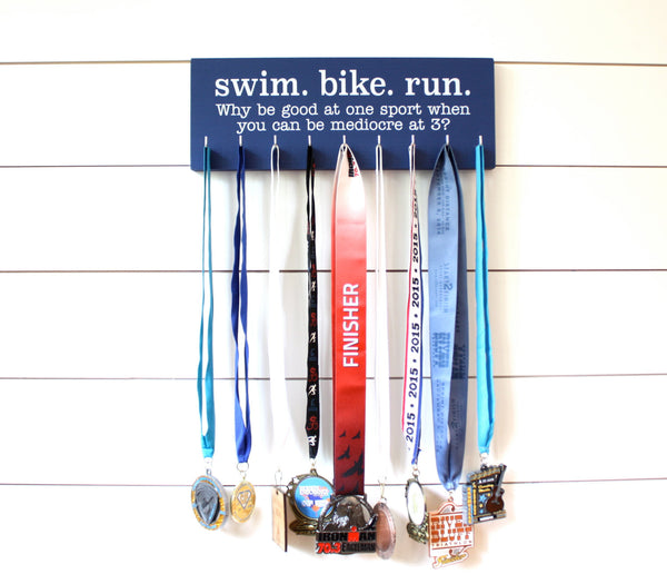 Triathlon Medal Holder / Display - Swim. Bike. Run. - Medium - York Sign Shop - 2