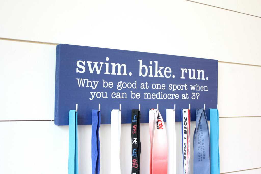 Triathlon Medal Holder / Display - Swim. Bike. Run. - Medium - York Sign Shop - 1