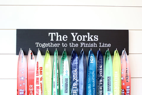 Running / Triathlon / Obstacle Race Medal Holder - Personalize - Together to the Finish Line - Couple or Family - Wedding Gift - Large - York Sign Shop - 1