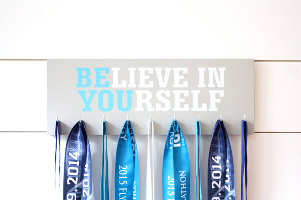 Medal Holder - Believe in Yourself - Medium - Motivational Quote - Inspirational - York Sign Shop - 2
