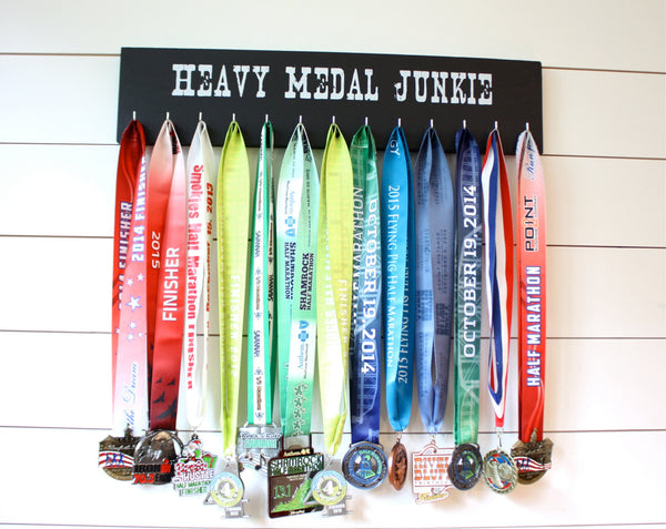 Medal Holder - Heavy Medal Junkie - Large - Running / Race Bling / Traithlon / Obstacle Race - York Sign Shop - 1