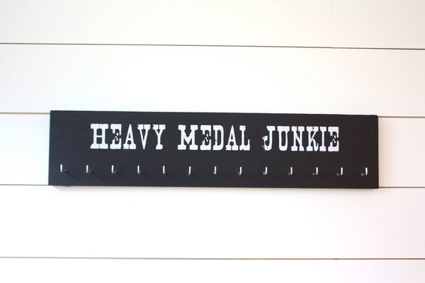 Medal Holder - Heavy Medal Junkie - Large - Running / Race Bling / Traithlon / Obstacle Race - York Sign Shop - 3