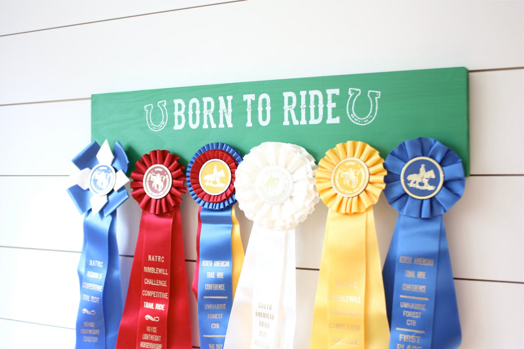 Equestrian Ribbon Holder - Born to Ride - Horseback Riding - Horse Show - York Sign Shop - 1
