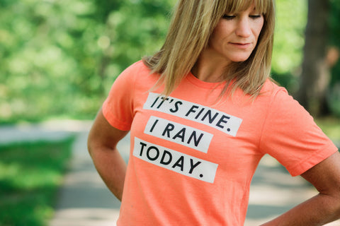 Running T-Shirt - It's Fine. I ran today. - Runner Tshirt - York Sign Shop - 1