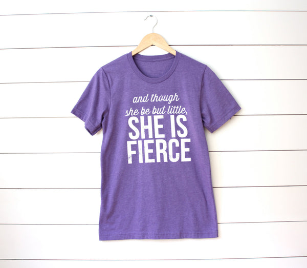 Women's T-shirt - And though she be but little. She is Fierce. Running Workout Gymnastics Cheer Dance Softball Soccer Swim Track Crossfit - York Sign Shop - 4