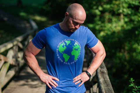 Runner T-shirt - The World is Your Treadmill. Run All Over It. - Running Travel Marathon - York Sign Shop - 1
