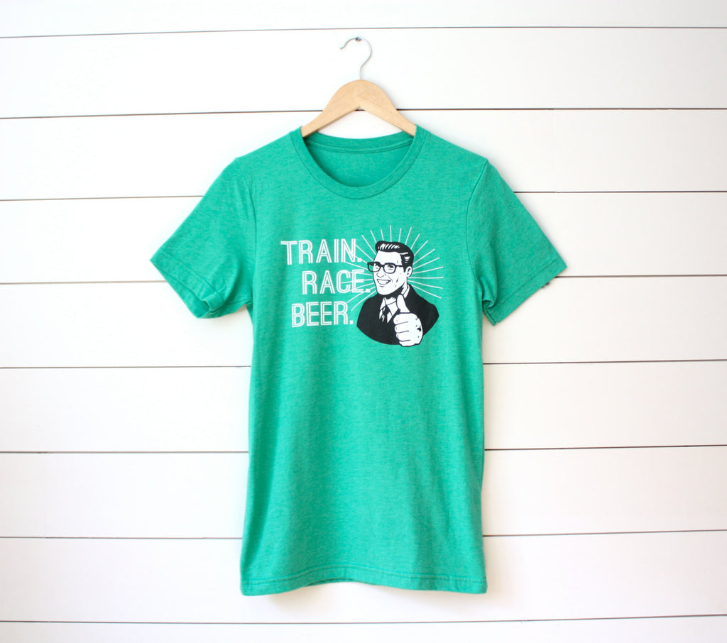 Runner T-shirt - Train. Race. Beer. - Running - Marathon - Half Marathon - Tee - York Sign Shop - 1
