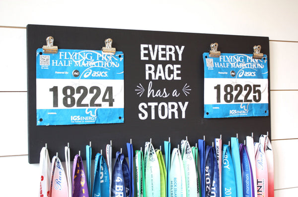 Race Bib and Medal Holder - Every Race Has a Story - Extra Large Size - York Sign Shop