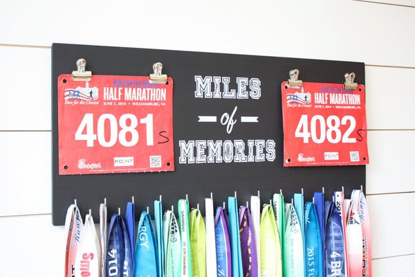 Race Bib and Medal Holder - Miles of Memories - Extra Large Size - York Sign Shop