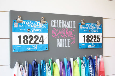 Race Bib and Medal Holder - Celebrate Every Mile - Extra Large Size - York Sign Shop