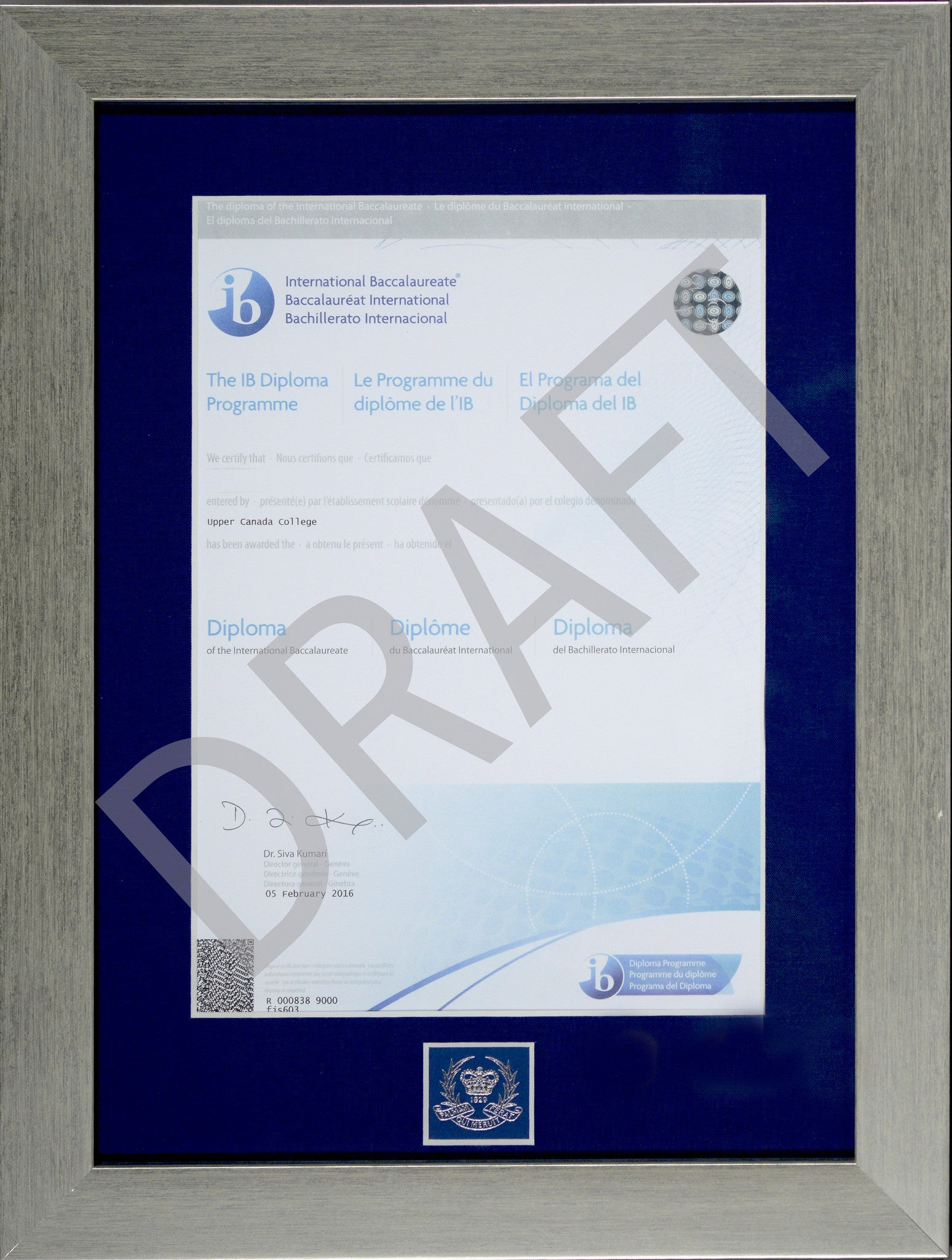"8 ¼"" x 11 5/8"" A4 International Baccalaureate Diploma"