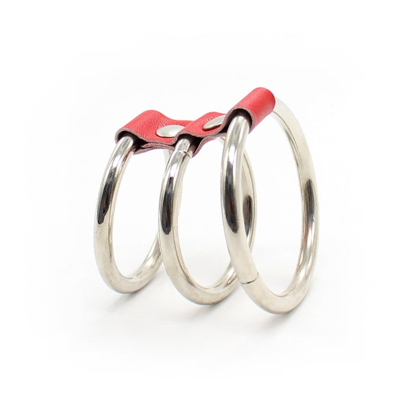 COCKRING 3-RINGS METAL/LEATHER - SILVER/RED
