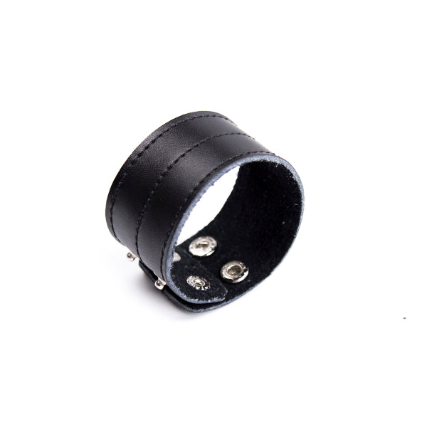 COCKRING WIDE BAND LEATHER - BLACK