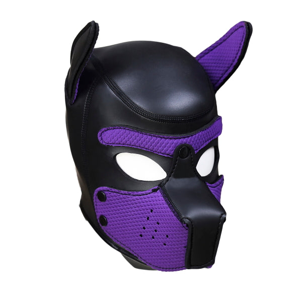PUPPY HOOD - SPANDEX/NEOPRENE - BLACK/PURPLE - MED
