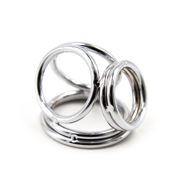COCKRING DOUBLE 3-CONNECTED METAL - SILVER
