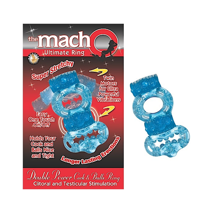 THE MACHO COLLECTION DOUBLE POWER COCK & BALLS RING - BLUE