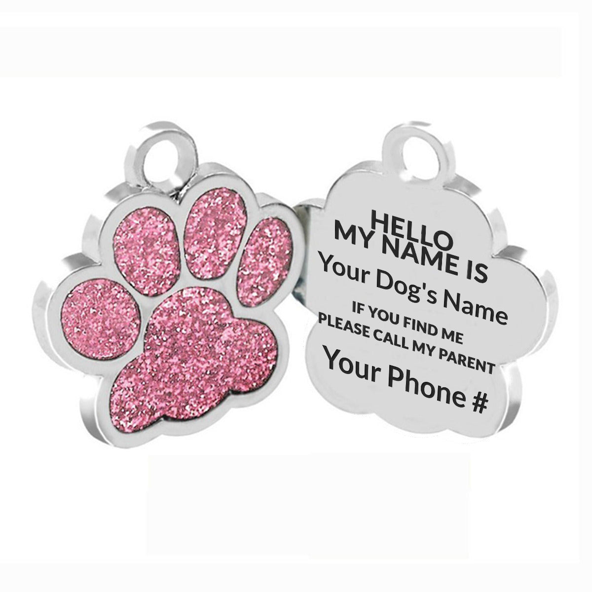 Personalized Paw Gem Dog Tag ID
