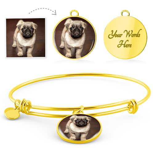 Personalized Pet Photo Memorial Round Bracelet or Necklace