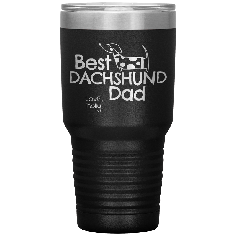 Best Dachshund Dad PERSONALIZED Stainless Steel Tumbler