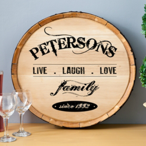 Wine Barrel Sign For Home Decor