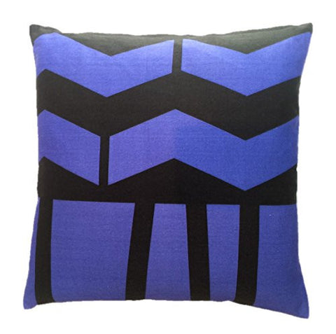 "NUNO WORKS Throw Pillow: ""Azamichi"" (Black/Blue)"