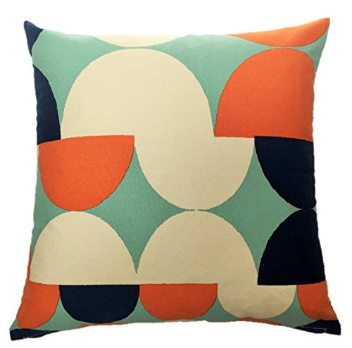 "NUNO WORKS Throw Pillow: ""Tulips"" (Orange/Navy)"