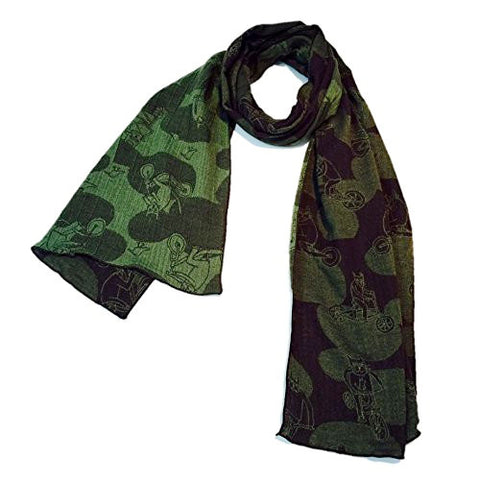 "NUNO Scarf: ""Bike Kitty"" (Green/Dark Brown)"