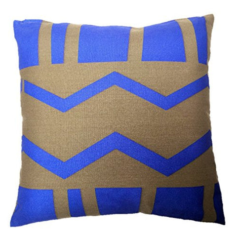 "NUNO WORKS Throw Pillow: ""Azamichi"" (Khaki/Blue)"