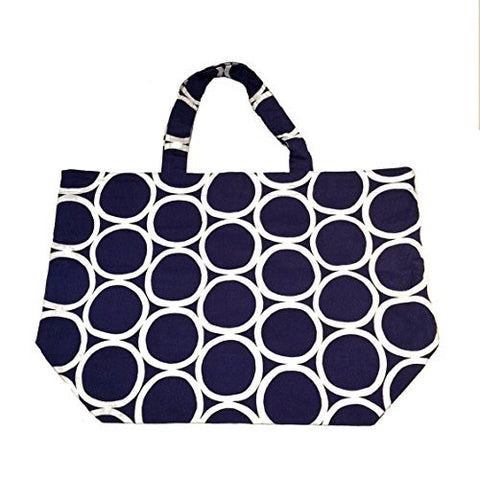 "NUNO WORKS Tote: ""White Rounds"" (Navy/White)"