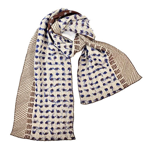 "NUNO Narrow Shawl: ""Lentils"" (Blue/White/Brown)"