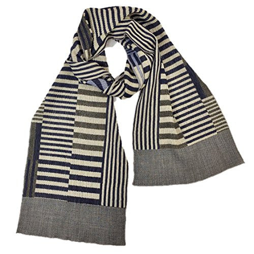 "NUNO Narrow Shawl: ""Color Plates"" (Navy/White)"