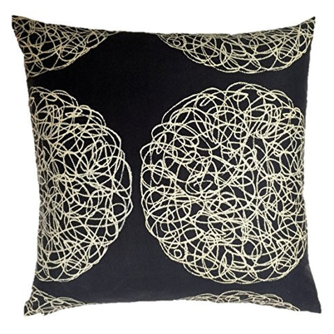 "NUNO WORKS Throw Pillow: ""Basketry"" (Black/Beige)"