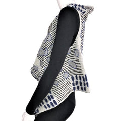 "NUNO One-Armhole Shawl: ""Bean Scatter"" (Blue/Black/White)"