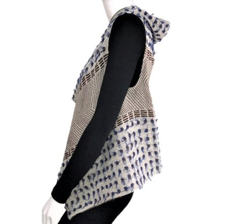"NUNO One-Armhole Shawl: ""Lentils"" (Blue/Brown/White)"