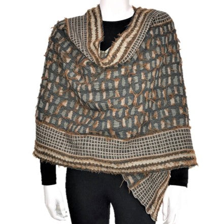 "NUNO One-Armhole Shawl: ""Shards"" (Camel Mix)"