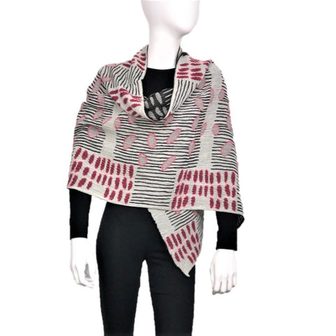 "NUNO One-Armhole Shawl: ""Bean Scatter"" (Red/Black/White)"