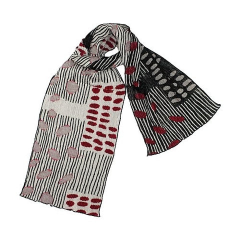 "NUNO Narrow Shawl: ""Bean Scatter"" (Pink/White/Black)"