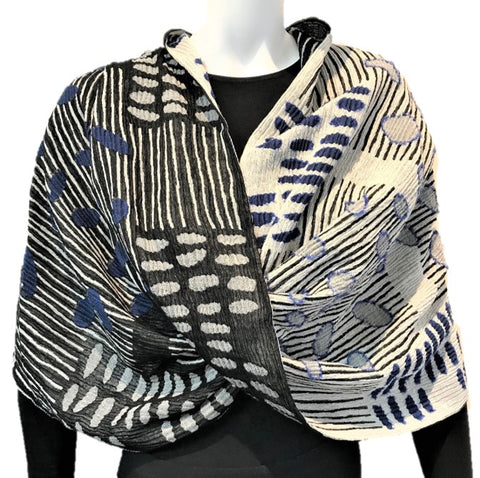 "NUNO Infinity Shawl/Shrug: ""Bean Scatter"" (Blue/White/Black)"
