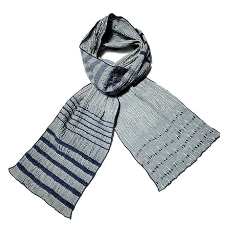 "NUNO Scarf: ""Fold Up"" (Blue/White)"