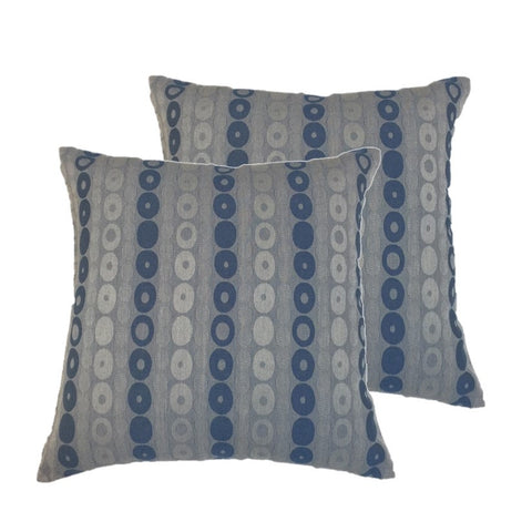 "NUNO Throw Pillow Pair: ""Donuts"" (Blue)"